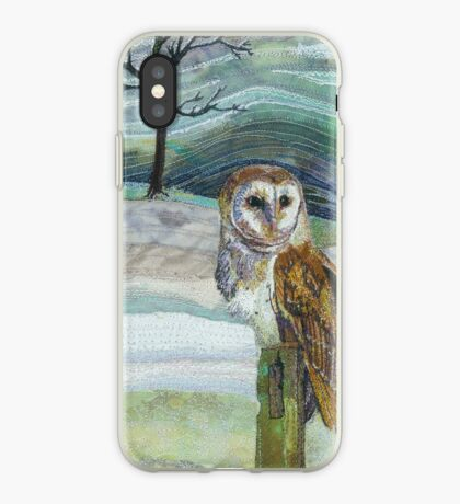 Waiting for his Supper - Barn Owl Embroidery - Textile Art iPhone Case
