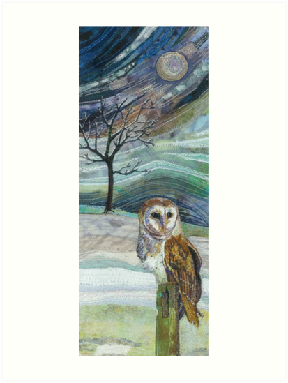 Waiting for his Supper - Barn Owl Embroidery - Textile Art by Rachel Wright