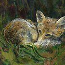 Sleepy Head - Fox Embroidery - Textile Art by Rachel Wright