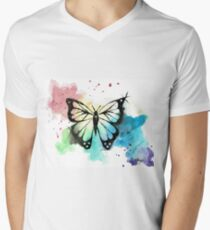 Butterfly in Watercolor and India Ink Men's V-Neck T-Shirt