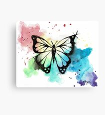 Butterfly in Watercolor and India Ink Canvas Print