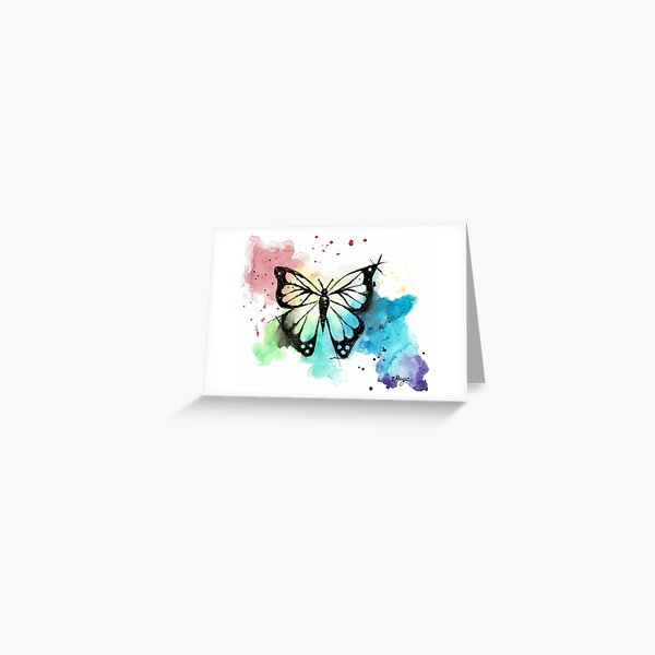 Butterfly in Watercolor and India Ink Greeting Card