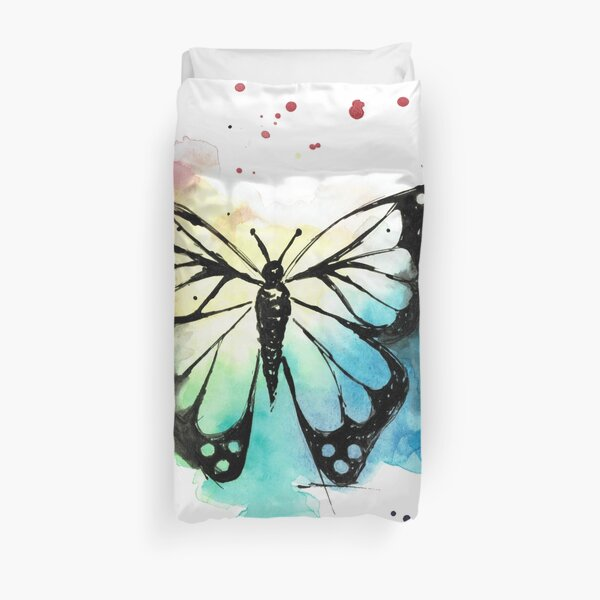 Butterfly in Watercolor and India Ink Duvet Cover