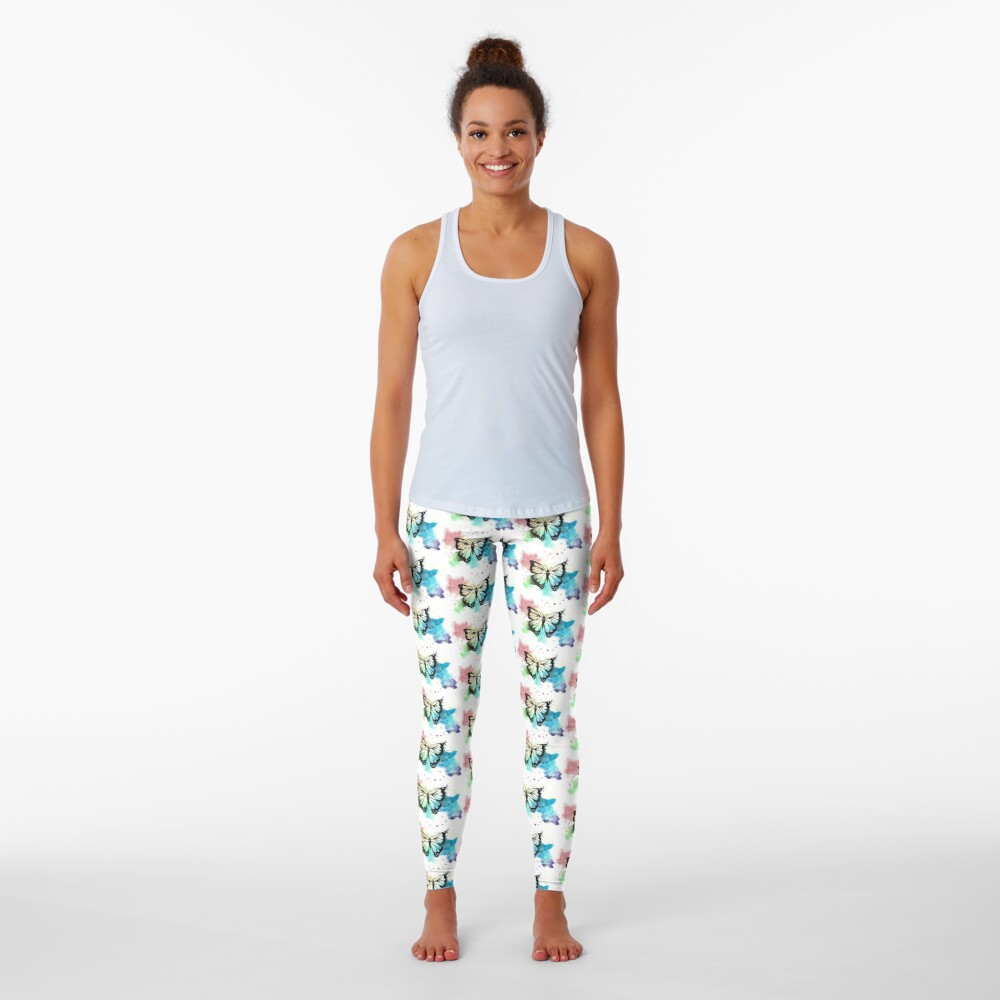 Butterfly in Watercolor and India Ink Leggings