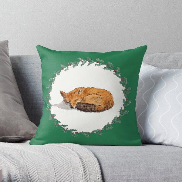 Sleeping Fox in Holly Wreath Throw Pillow