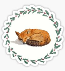 Pegatina Dormir Fox en Holly Wreath