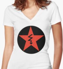 Revolutionary Pentacle Series: Jagged Arrow Pentacle Women's Fitted V-Neck T-Shirt