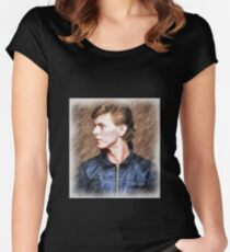 David Bowie - Colored Pencil Women's Fitted Scoop T-Shirt