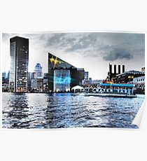 Baltimore City  Maryland Inner Harbor Night Scene Poster