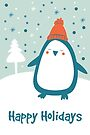 Penguin Holiday Card by Jordi  Sabate