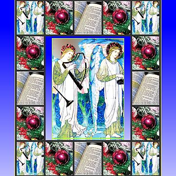 Angel Musicians Christmas Collage by kathrynsgallery