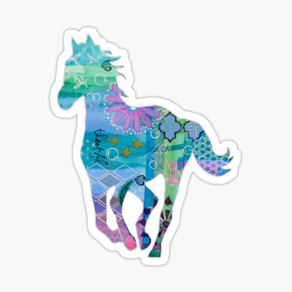 Seahorse Colorful Mixed Media Horse Silhouette Sticker