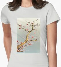 Blooming Red, Oriental Style Womens Fitted T-Shirt