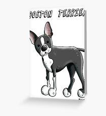 Boston Terrier Dog Cartoon Greeting Card