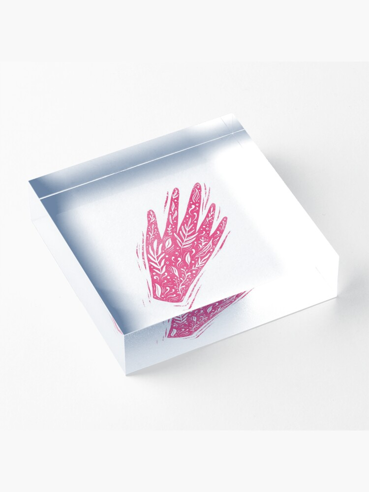 Alternate view of Decorative pink hand Acrylic Block