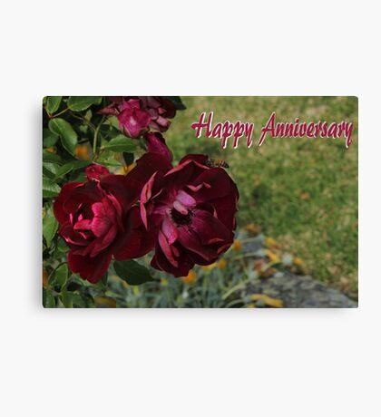 Happy Anniversary Roses Canvas Print
