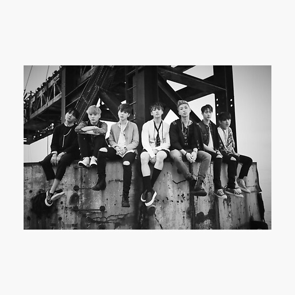 black amp white bts kpop photographic print by thisfire redbubble redbubble