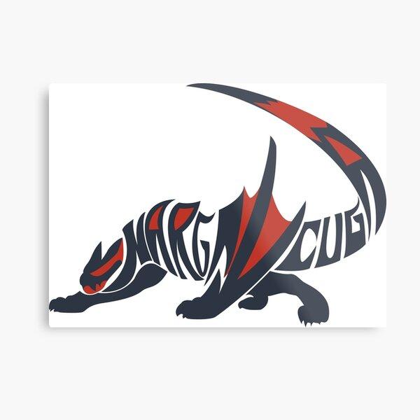 Nargacuga Two-Color Typography Metal Print