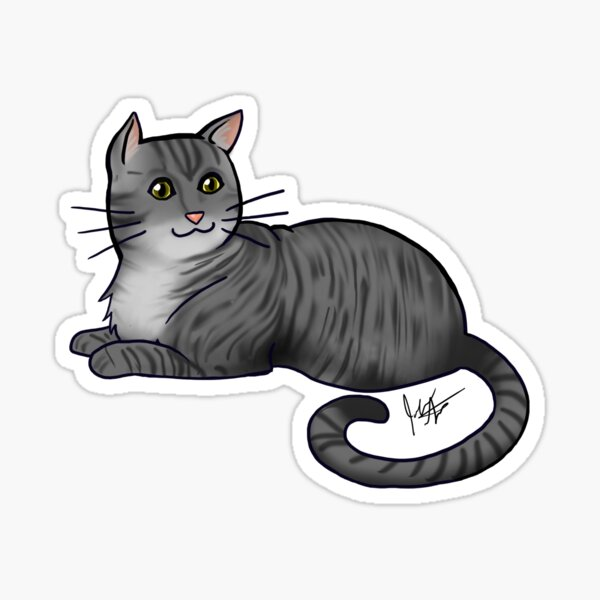 Dark Gray Tabby Cat Sticker