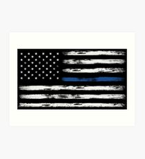 Blue Line (White) Art Print
