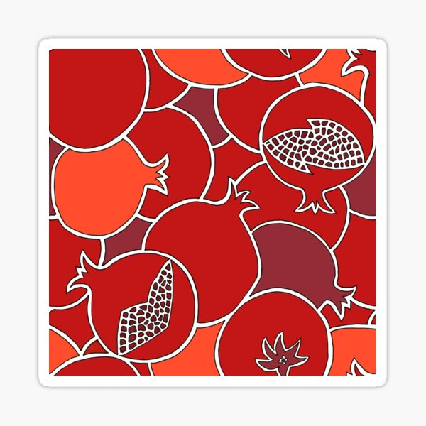 Vibrant Pomegranate Harvest of Fruit with Seeds Sticker