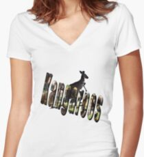 Australian Kangaroo With Kangaroos Logo, Women's Fitted V-Neck T-Shirt