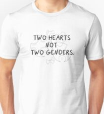 Two Hearts Not Two Genders - Black T-Shirt