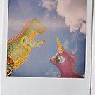 dinosaur & unicorn love by villavillakula