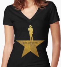 HARRINGTON: An American Babysitter (gold texture) Women's Fitted V-Neck T-Shirt