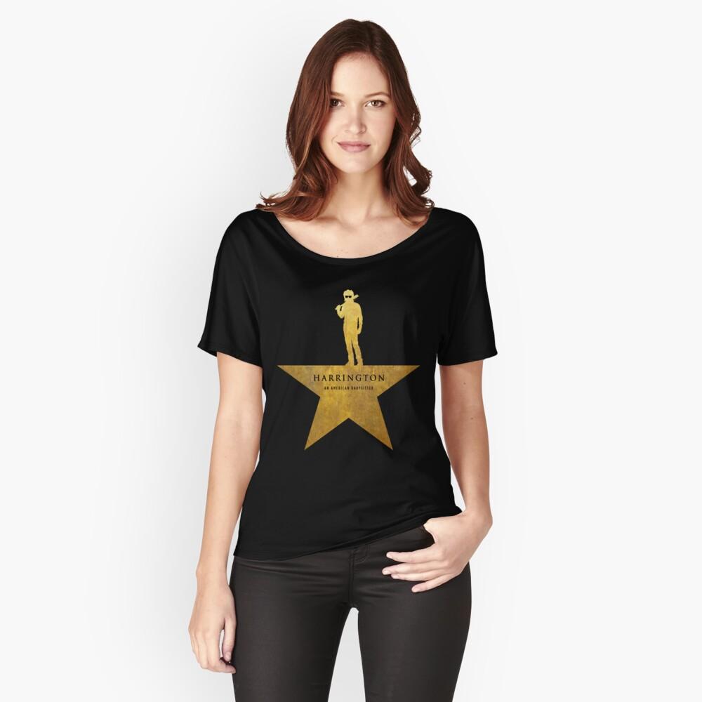 HARRINGTON: An American Babysitter (gold texture) Women's Relaxed Fit T-Shirt Front