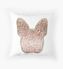 Sparkling rose gold French Bulldog  Throw Pillow