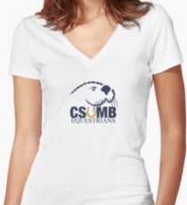 CSUMB Equestrians White Background Women's Fitted V-Neck T-Shirt