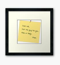 Post it note from Mom Framed Print