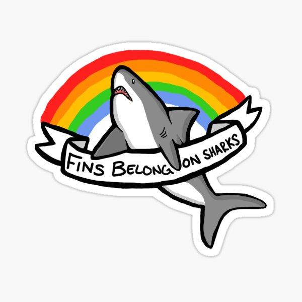 Fins Belong on Sharks Sticker