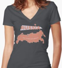 infographics Russia Women's Fitted V-Neck T-Shirt