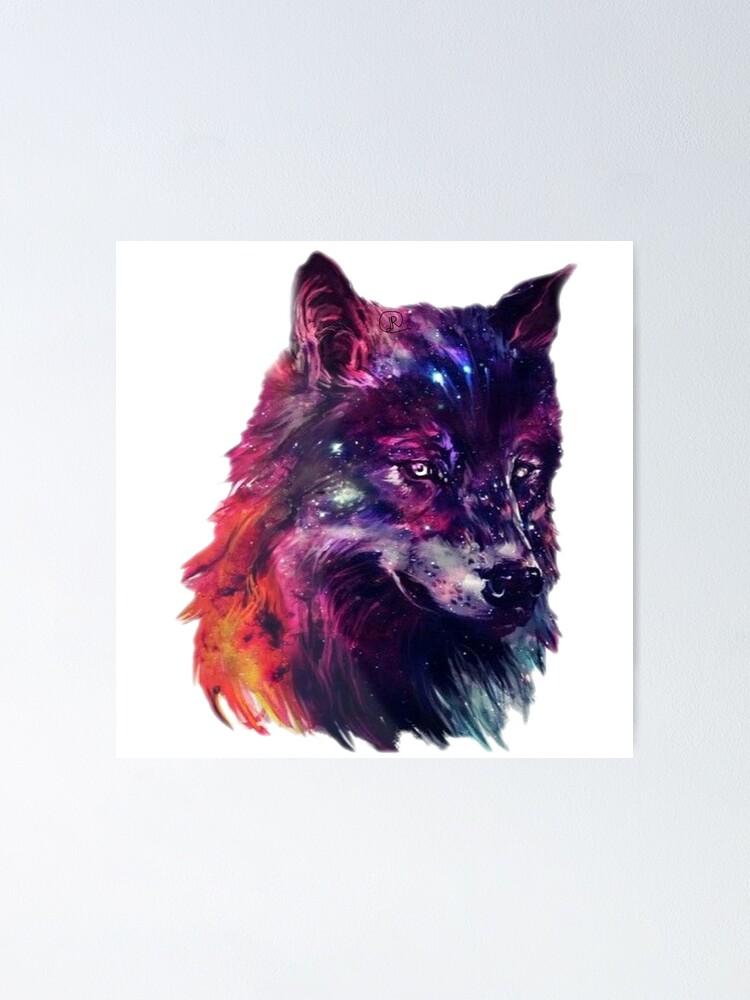 Galaxy Space Wolf Matte//Glossy PosterWellcoda