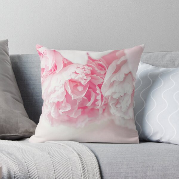 Pretty in Pink - Pastel Peonies Throw Pillow