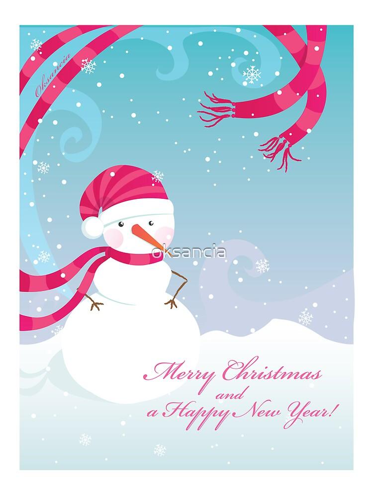 Snowman holidays postcard by oksancia