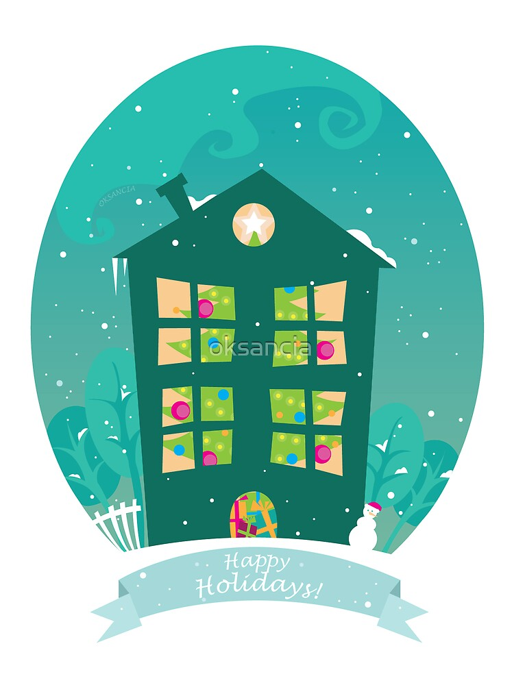 Christmas Tree house - holiday greeting card by oksancia