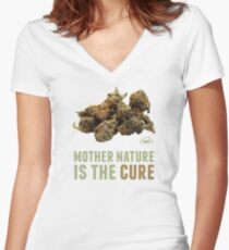 Mother Nature is the Cure Fitted V-Neck T-Shirt