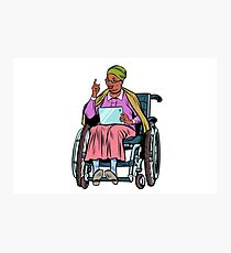 African elderly woman disabled person in a wheelchair Photographic Print