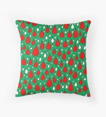 Christmas red white drops Throw Pillow