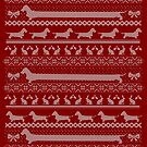 Ugly Christmas sweater dog edition - Rough haired Dachshund red by Camilla Mikaela Häggblom