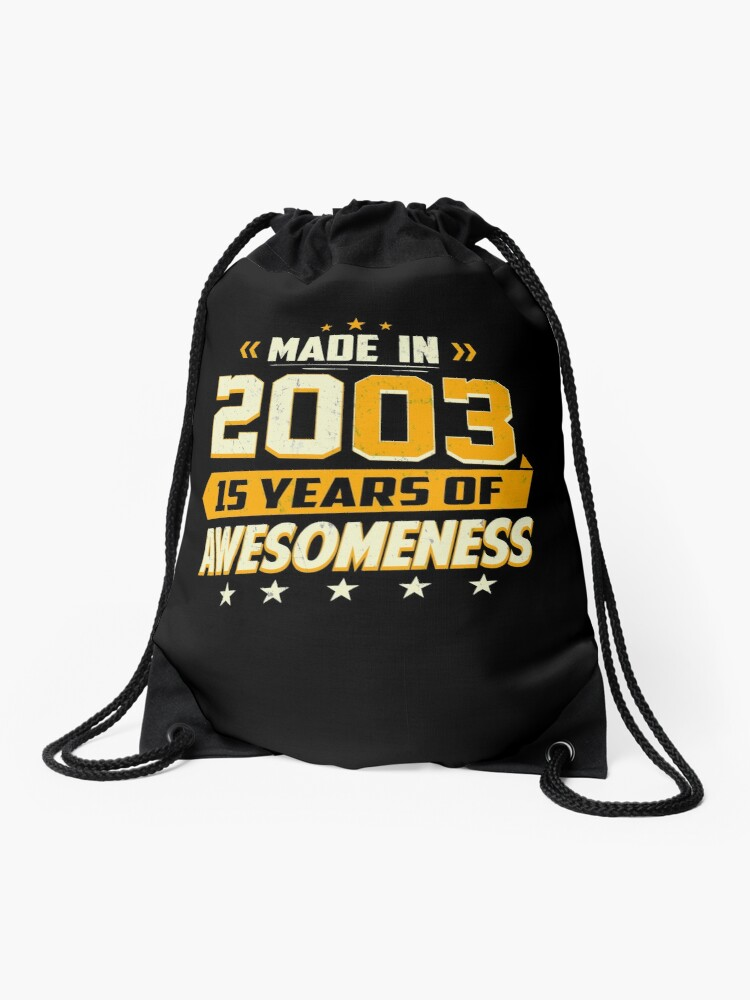 15th Birthday Gift Age 15 Year Old Boy Girl Teenager Drawstring Bag Front
