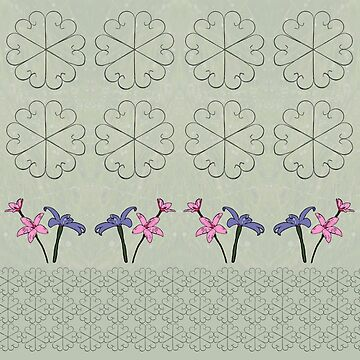 Metal Flower and Orchids Design Fabric by yallmia