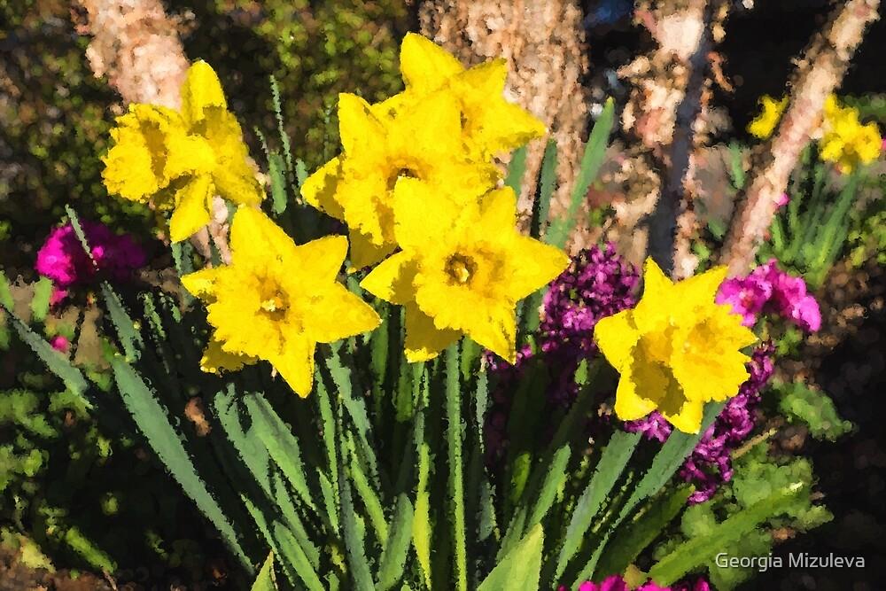 Sunny Daffodil Bouquet – Impressions Of Spring by Georgia Mizuleva