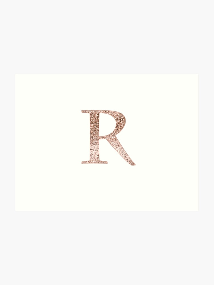 Letter Art Print.R Rose Gold Glitter Monogram Letter Art Print