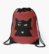 Chat noir porte-bonheur // Lucky black cat Drawstring Bag