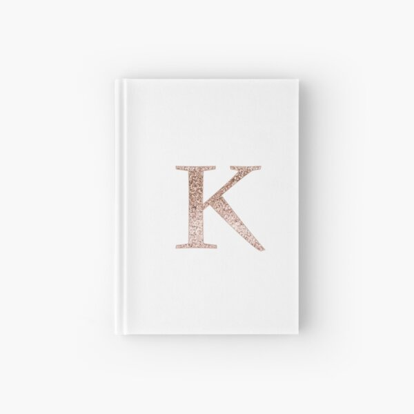 K rose gold glitter monogram letter Hardcover Journal