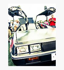 Silver delorean DMC-12 Photographic Print